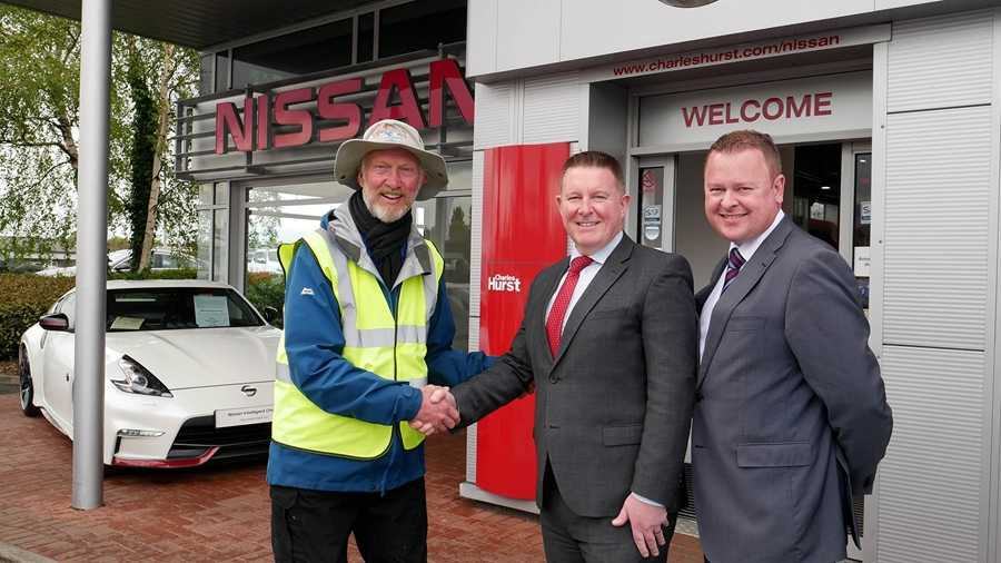 Charles Hurst Nissan in Belfast, part of the Lookers family, welcomed Brian Burnie at the halfway stage of his fundraising trek