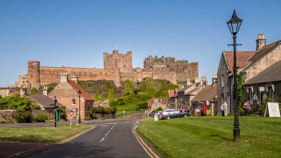 Bamburgh's Front Street, with Bamburgh Castle in the background